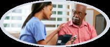 caregiver checking senior man